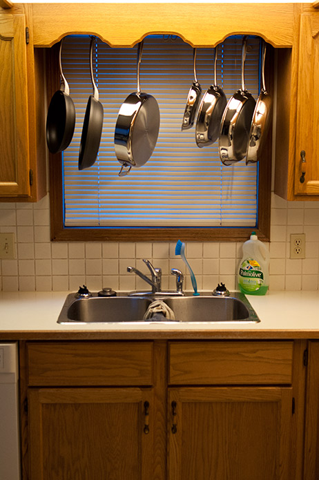 How to build a pots and pans rack cheaply that spans ...