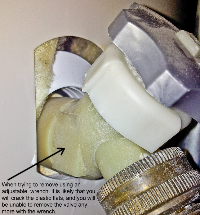 Plastic drain valve on Kenmore Power Miser 9 hot water heater, difficult to remove without breaking it.