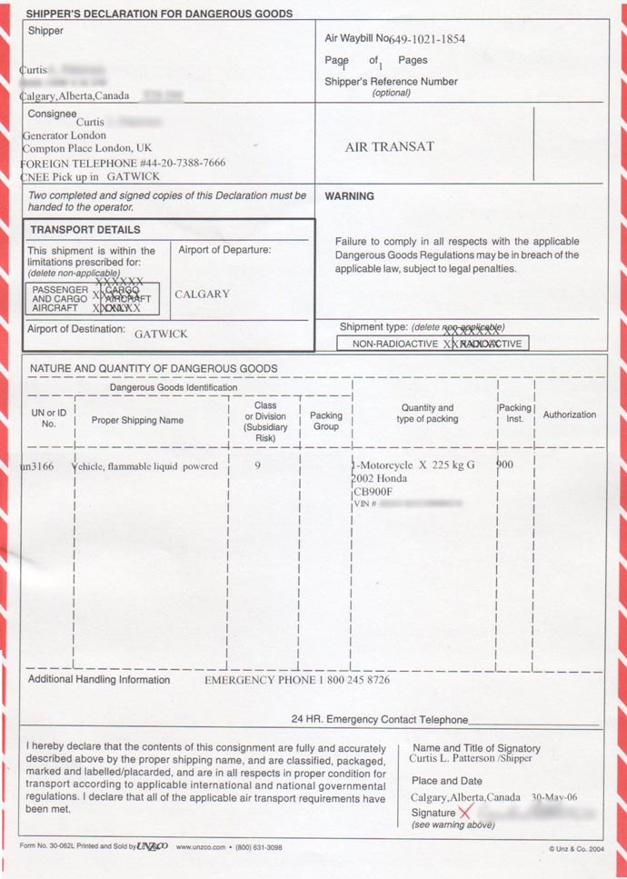 Dangerous goods form